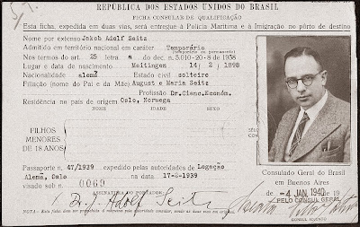 Ficha del pasaporte de Jakob Adolf Seitz
