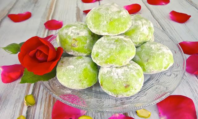snowball cookie pistachio rose cardamom recipe vegan christmas vegetarian eggless