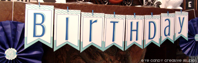 birthday banner, chevron, royal & teal, craft birthday party banner