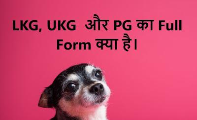 LKG, UKG और PG  का  Full क्या होता है