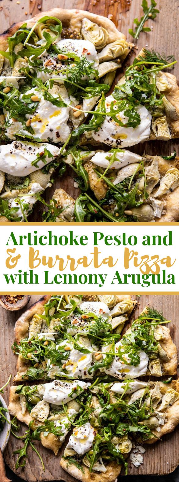 Artichoke Pesto and Burrata Pizza with Lemony Arugula #vegetarian #veggies