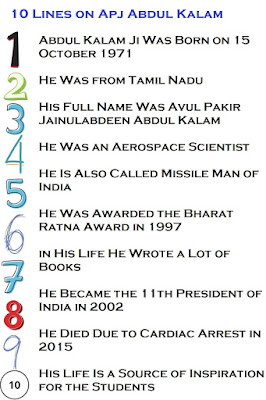 10 Lines on Apj Abdul Kalam in English for Kids