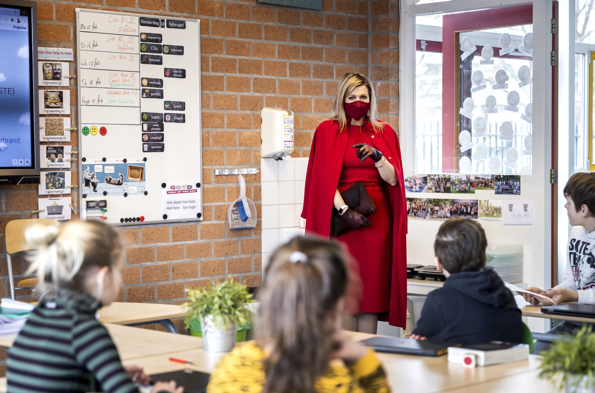 Queen Maxima of Netherlands made a visit to Christian Primary School Sabina van Egmond in Oud-Beijerland to mark the re-opening of Primary Schools after lockdown