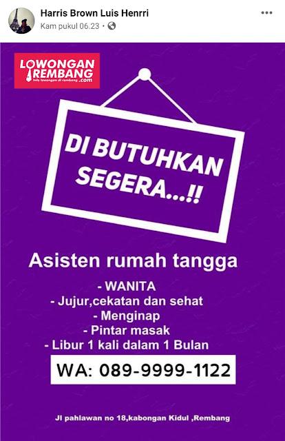 Lowongan Kerja Asisten Rumah Tangga Kabongan Kidul Rembang