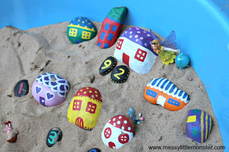painted rocks craft fairy houses for preschoolers