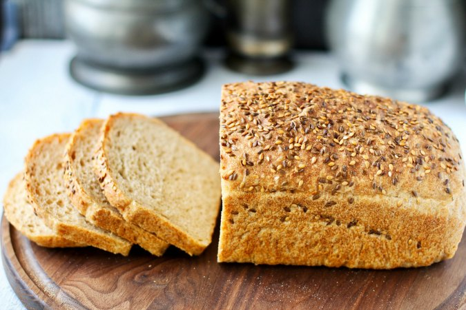 No Knead Sprouted Wheat and Flax Seed Bread sliced