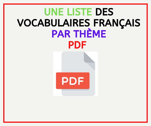 Une liste des vocabulaires français par thème pdf