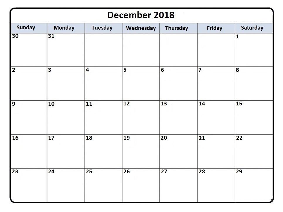 Get Free Template December 2018 a4 Calendar Download