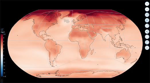 map showing global mean temperature change since 1850