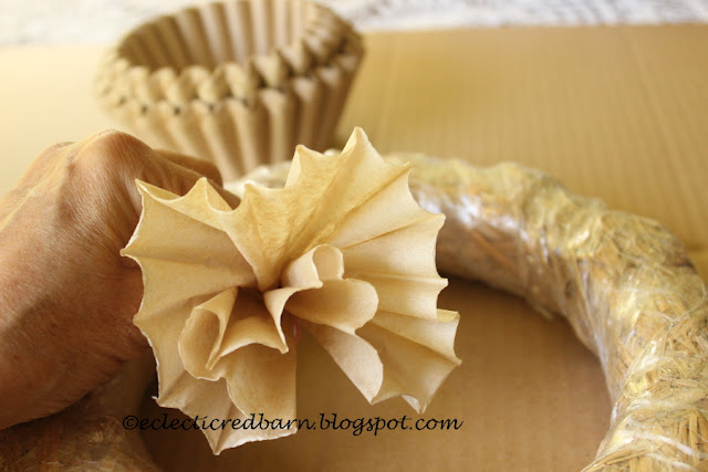 Eclectic Red Barn: Gathering the coffee filter into a flower