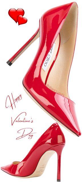 Jimmy Choo Anouk hot red pointed toe patent leather high heel pumps #brilliantluxury