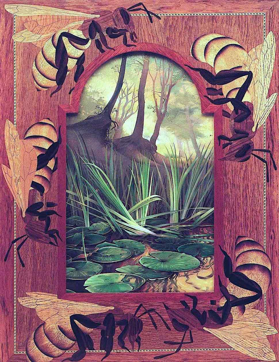 Kit Williams art, a wood bees frame, marsh reeds