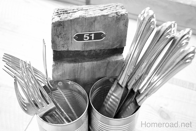 A caddy for silverware from recycled cans
