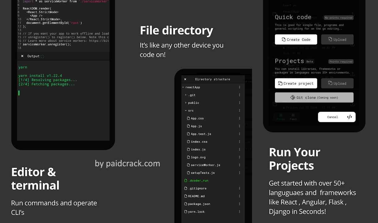 Dcoder, Compiler IDE Code & Programming on mobile Mod Apk 3.2.9