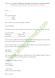 transfer of bank account to another branch letter