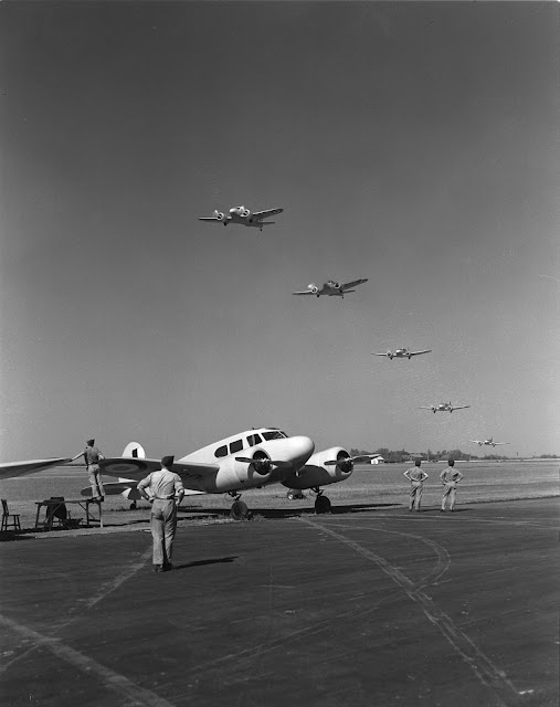 Five Royal Canadian Air Force Cessna Cranes overfly a sixth, 19 July 1941 worldwartwo.filminspector.com