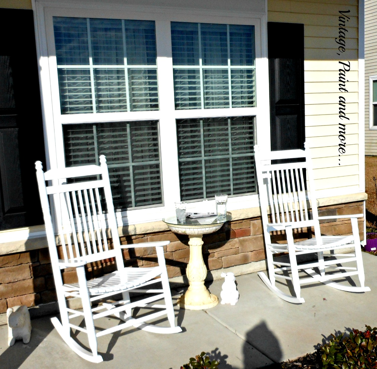 Vintage, Paint and more... White rockers on a porch