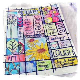 Live, Love, Laugh Create Journal page by Catherine Scanlon using Art Gone Wild Stamps and Stencils