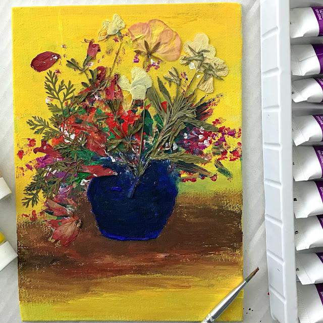 gouache paint press flower canvas art