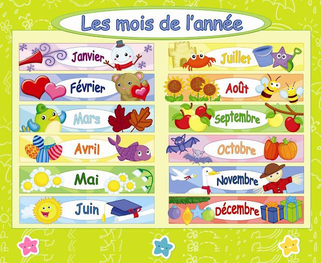 ملصق اشهر السنة بالفرنسية