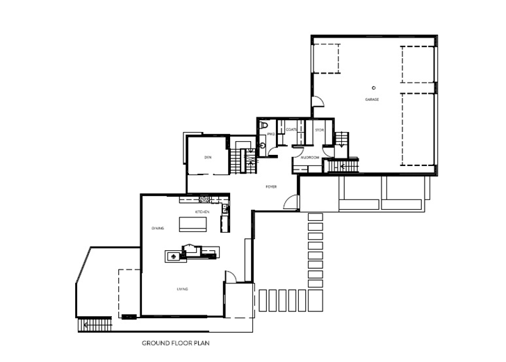 Ground floor plan of Amazing Ottawa River House by Christopher Simmonds Architect