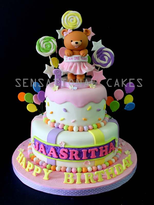 The Sensational Cakes Ballerina Bear Cake 1st Birthday Cakes