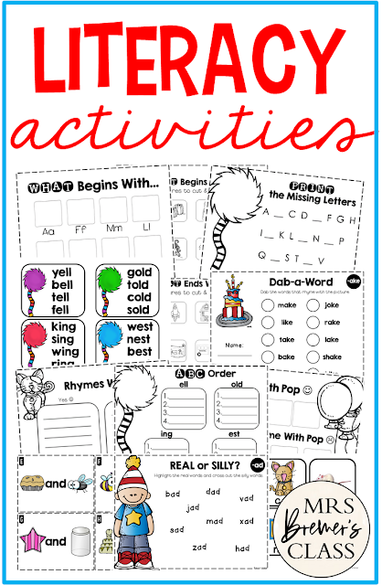 Literacy Activities for Kindergarten and First Grade with rhyme, beginning sounds and ABC order