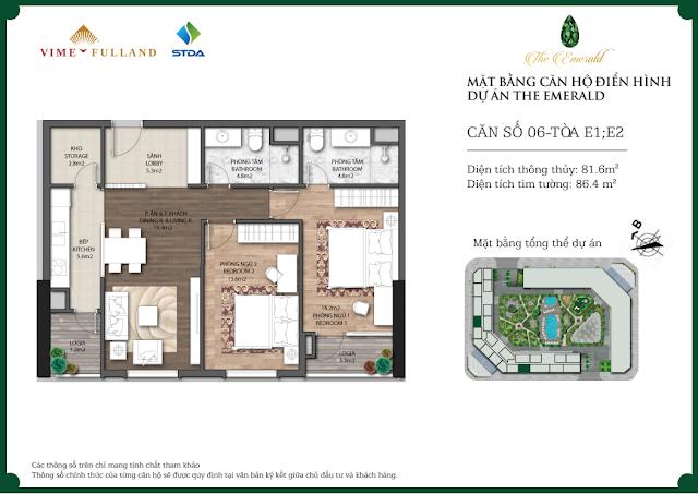 Thiết kế căn 06 tòa E1 - E2