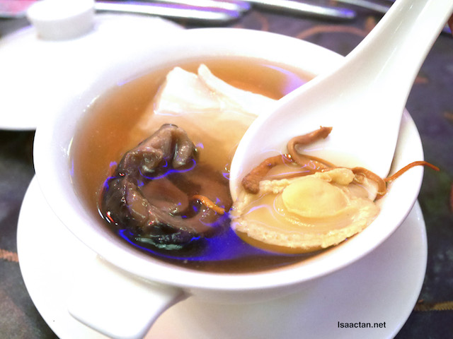 Double Boiled Abalone Soup and Fish Maw with Cordyceps Flower