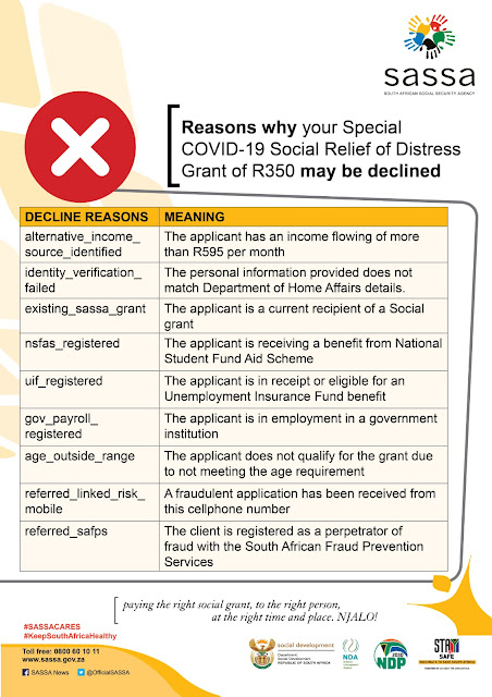 reasons for declined R350 SRD grant