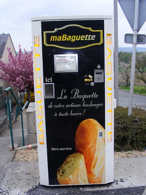 Baguette vending machine, Vienne, France. Photo by Loire Valley Time Travel.