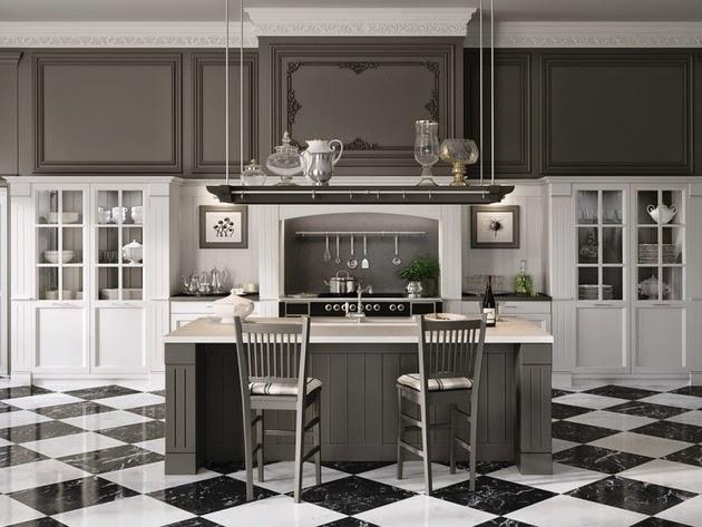 Dapur sanggup bermetamorfosis ruangan yang mengingatkan kita akan masa kemudian Desain Da Desain Dapur Bertema Klasik Hitam Putih