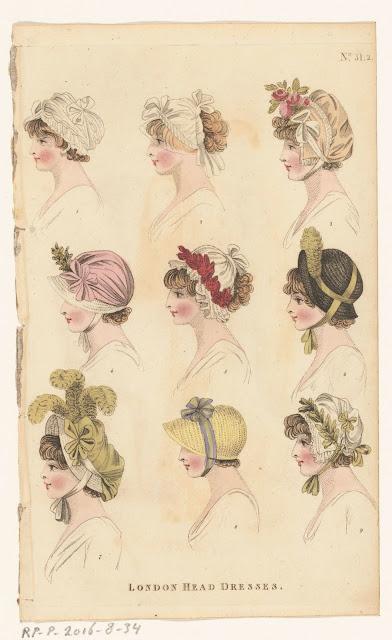 small portraits of women wearing regency caps