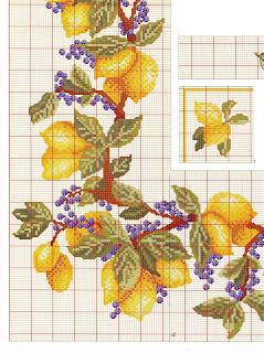 Motivo a punto croce con limoni per tovaglie e tende