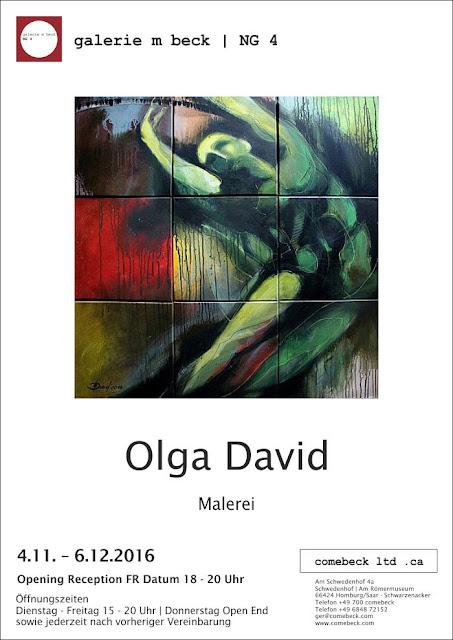 Bilderausstellung von Olga David, Galerie Comebeck, Homburg. Einladung