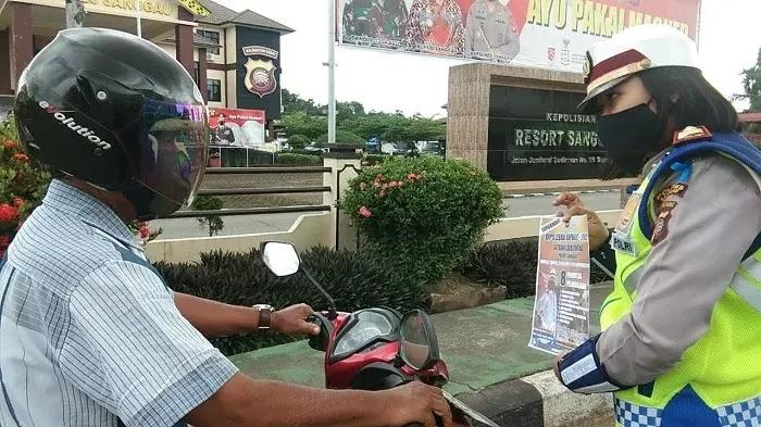 Polres Sanggau menggelar operasi zebra tahun 2020 dan kampanye pemakaian masker