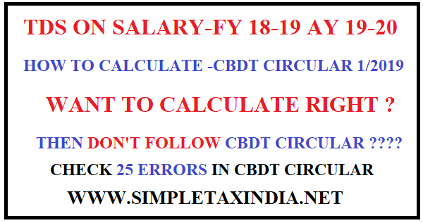 Tds On Salary Fy 18 19 Want Correct Calculations Do Not Follow