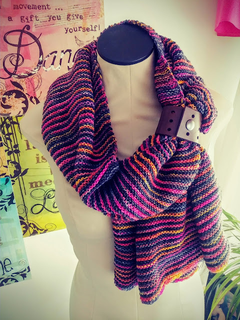 Triangular garter stitch shawl knit with Dying for Art and Knitted Witt yarns