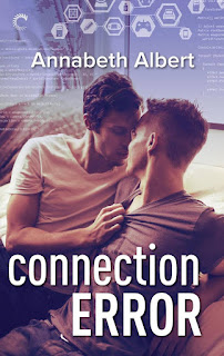 Cover of Connection Error. Two white men kiss on a couch.