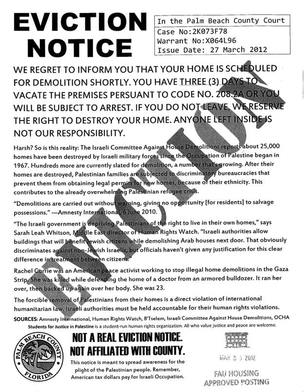 Uh, oh! FAU Housing\u0027s seal on anti-Jew eviction notice posted on - how to make a eviction notice