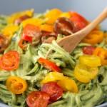 Healthy Light Zucchini Spaghetti With Avocado Sauce