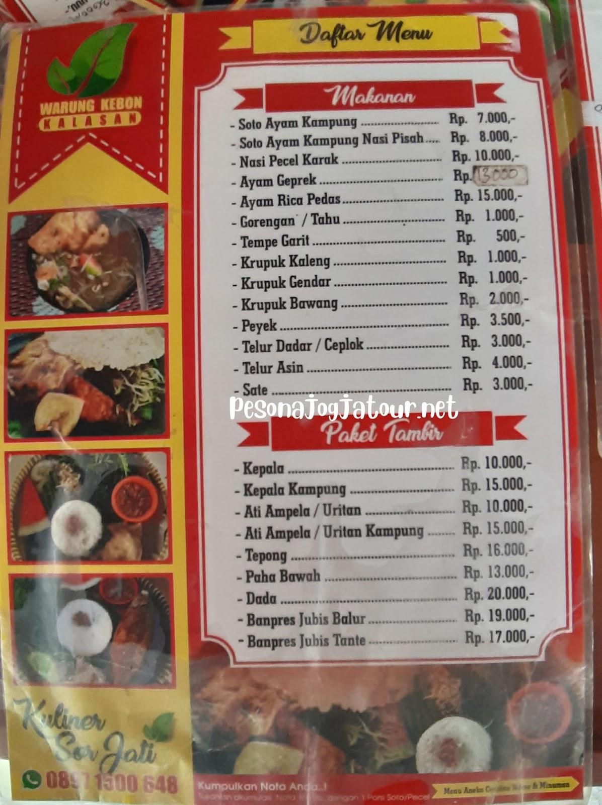 Daftar harga menu makanan warung kebon kalasan