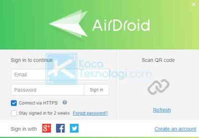 Anda bisa buat akun terlebih dahulu. Pastikan pada komputer dan klien masih menggunakan akun Airdroid yang sama. Jika Anda menggunakan akun gratis, Anda dapat menghubungkan maksimal yaitu satu perangkat Android saja, dengan batas transfer file sebesar 200 MB perbulannya.