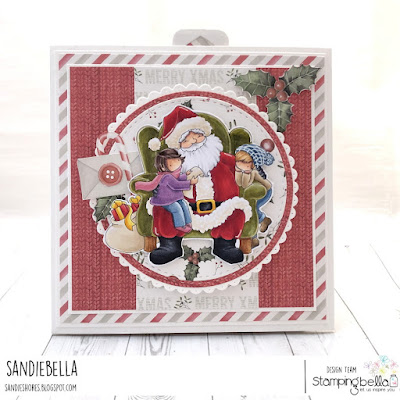 www.stampingbella.com: rubber stamp used: TINY TOWNIES ON SANTA'S LAP. card by Sandie Dunne