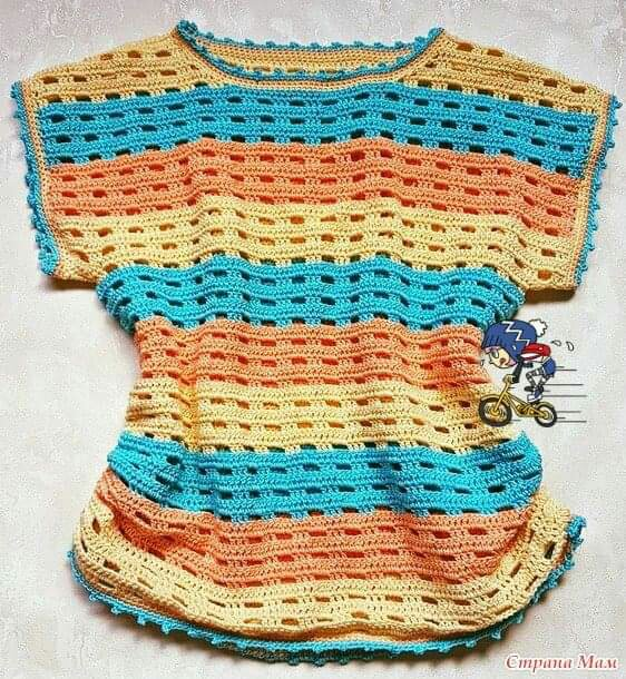 Colorful blouse with simple crochet stitches, very nice - Free Intructions