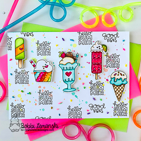 Hello summer by Bobbi features Tropical Fringe and Summer Scoops by Newton's Nook Designs; #newtonsnook