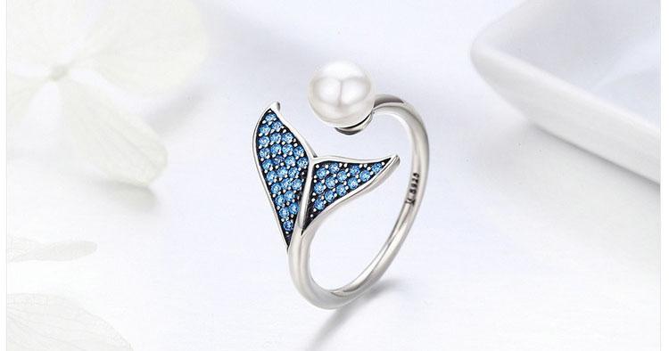貝珠美人魚可調式 925純銀戒指