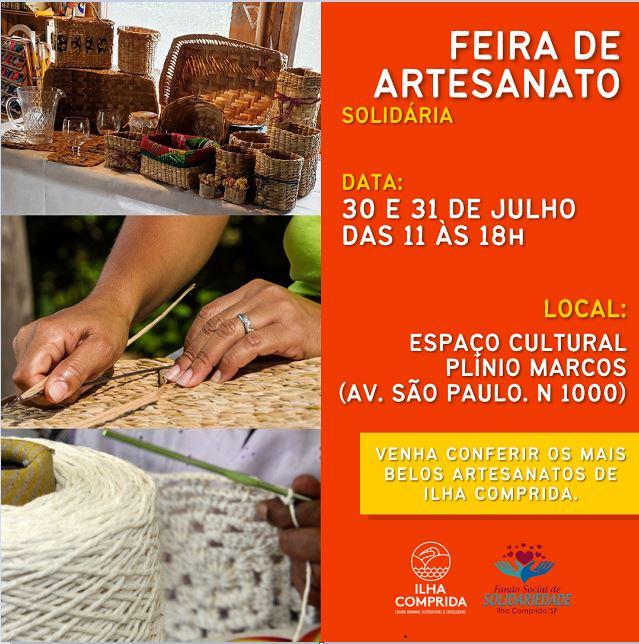 Feira de Artesanato Solidária no Espaço Cultural Plínio Marcos até 31/7