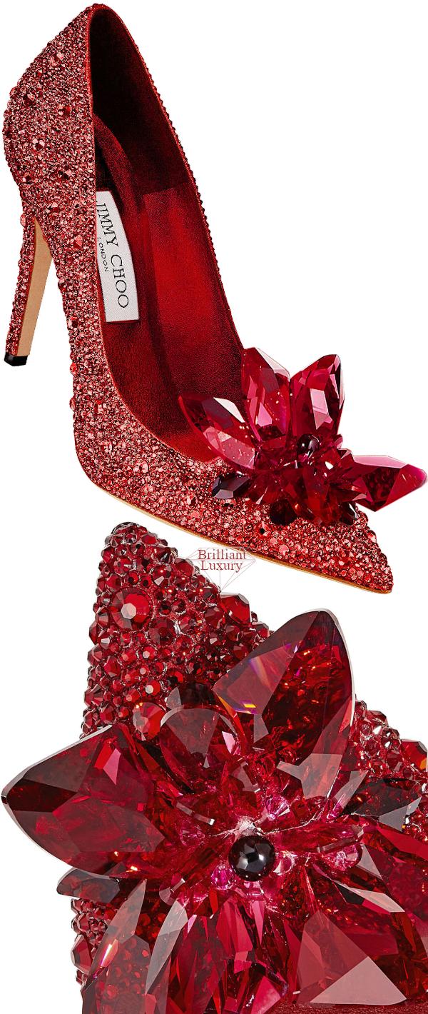 Jimmy Choo Alia Red Crystal Covered Pointy Toe Pumps #brilliantluxury