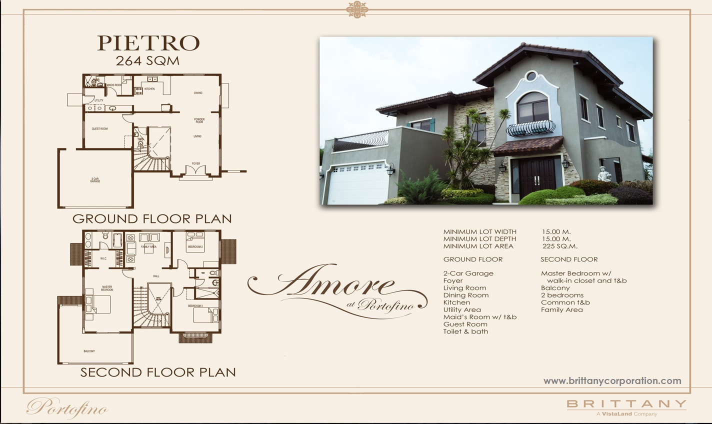 Floor Plan of Pietro Model - Amore Portofino | House and Lot for Sale Daang Reyna Las Pinas